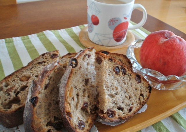 トレボンのパンと桃、カフェオレ